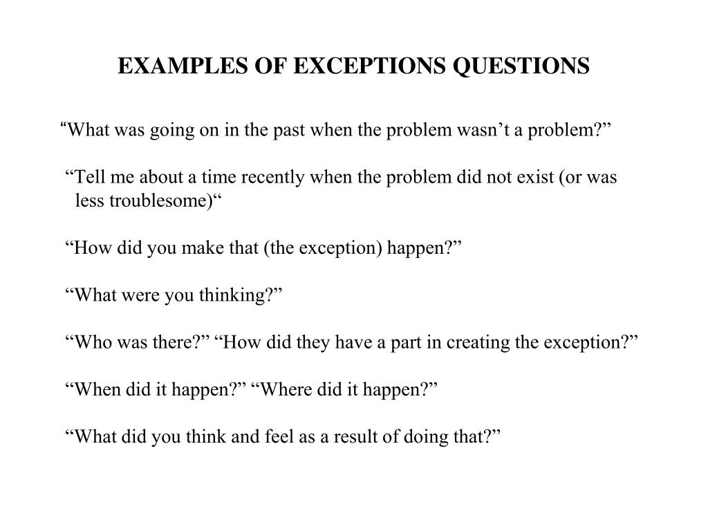 solution-focused strategies - exceptions questions